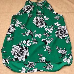Dalia Green Floral Sleeveless High Neckline Blouse